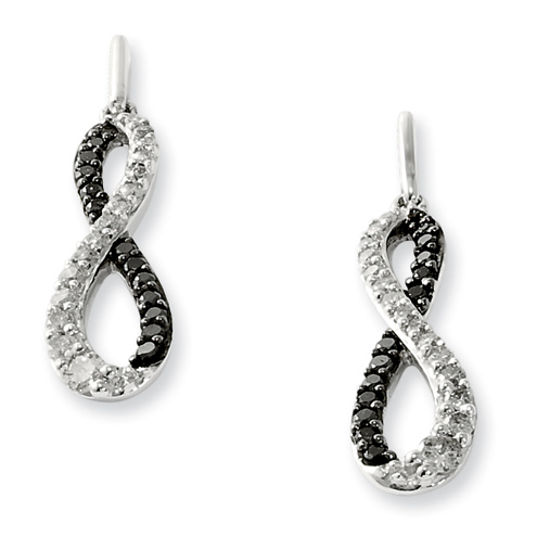 0.5 Ct Sterling Silver Black and White Post Dangle Earrings