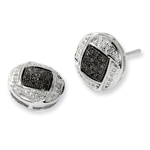 0.267 Ct Sterling Silver Black and White Diamond Earrings