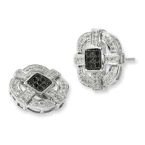 0.3 Ct Sterling Silver Black and White Diamond Earrings