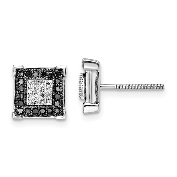 0.416 Ct Sterling Silver Black and White Diamond Earrings