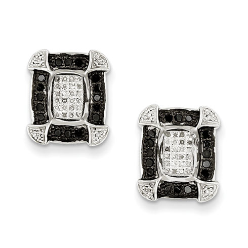 0.40 Ct Sterling Silver Black and White Diamond Earrings