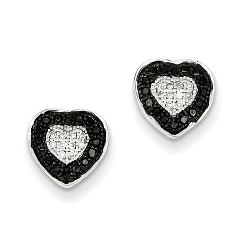 Sterling Silver 0.24 Ct Black and White Diamond Heart Post Earrings