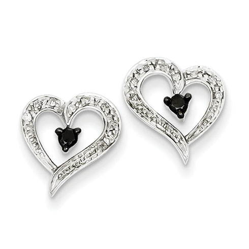 0.16 Ct Sterling Silver Black and White Diamond Heart Post Earrings
