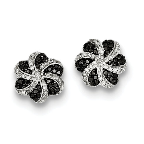 0.50 Ct Sterling Silver Black and White Diamond Flower Post Earrings