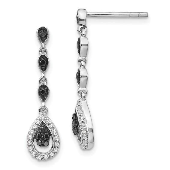 0.25 Ct Sterling Silver Black and White Diamond Teardrop Post Dangle Earrings