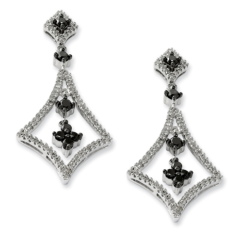 1.5 Ct Sterling Silver Black and White Diamond Geometric Dangle Post Earrings