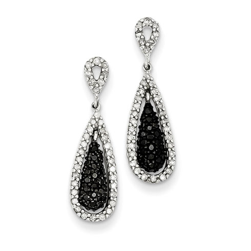 0.63 Ct Sterling Silver Black and White Diamond Double Teardrop Post Dangle Earring