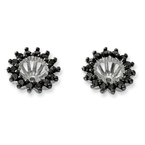0.49 Ct Sterling Silver Black Diamond Earring Jacket