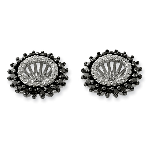 0.6 Ct Sterling Silver Black and White Earring Jacket