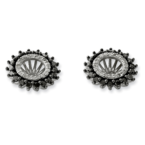 0.74 Ct Sterling Silver Black and White Earring Jacket