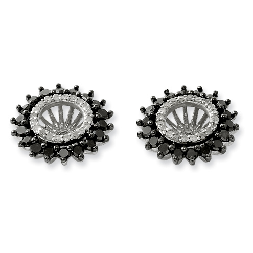 1 Ct Sterling Silver Black and White Earring Jacket