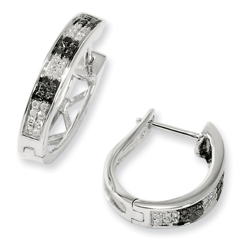 0.18 Ct Sterling Silver Black and White Diamond Hoop Earrings