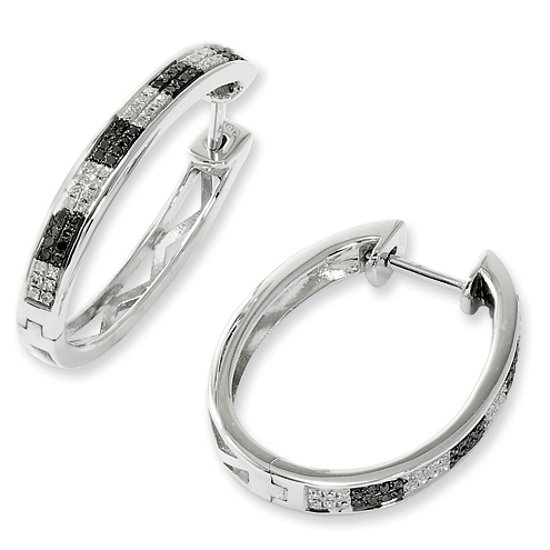 0.27 Ct Sterling Silver Black and White Diamond Hoop Earrings