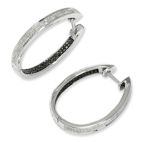 0.45 Ct Sterling Silver Black and White Diamond In Out Hoop Earrings
