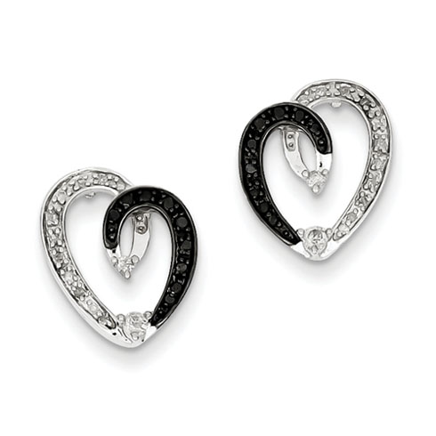 0.25 Ct Sterling Silver Black and White Diamond Heart Post Earrings