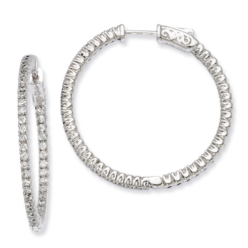 1 1/4in Sterling Silver with CZ Hinged Hoop Earrings
