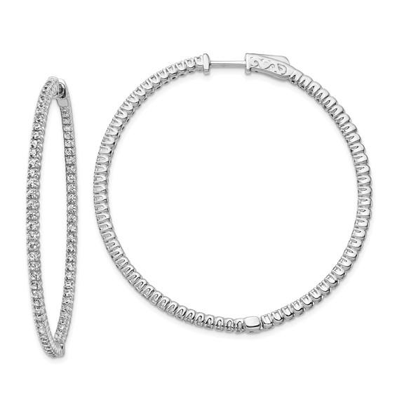 Sterling Silver 2in with CZ Hinged Hoop Earrings