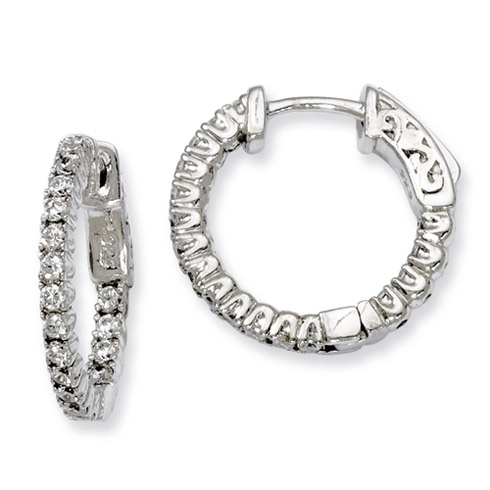 3/4in Sterling Silver with CZ Hinged Hoop Earrings