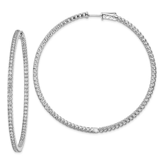 2 3/in Sterling Silver with CZ Hinged Hoop Earrings
