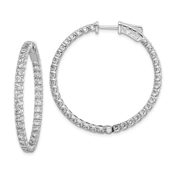 Sterling Silver 1 1/4in with CZ Hinged Hoop Earrings