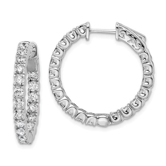 Sterling Silver 7/8in Hinged Hoop Earrings with 2.5mm CZs