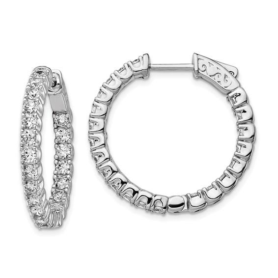 1in Sterling Silver with 2.5mm CZ Hinged Hoop Earrings