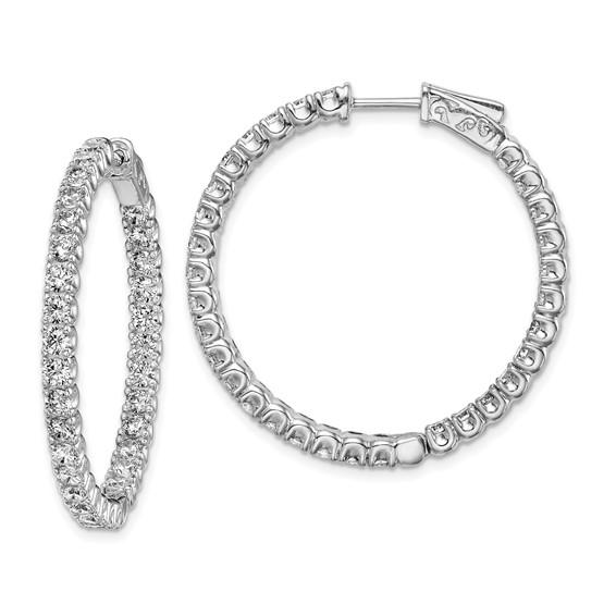1 1/4in Sterling Silver with 2.5mm CZ Hinged Hoop Earrings