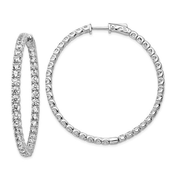 1 7/8in Sterling Silver with CZ Hinged Hoop Earrings