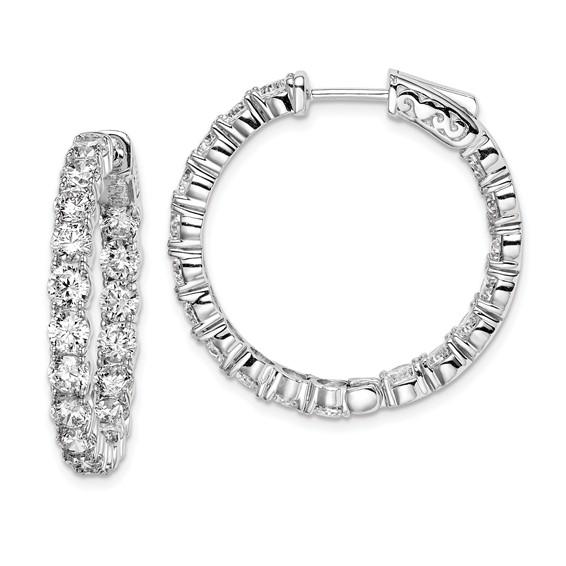 Sterling Silver 1in CZ Hinged Hoop Earrings