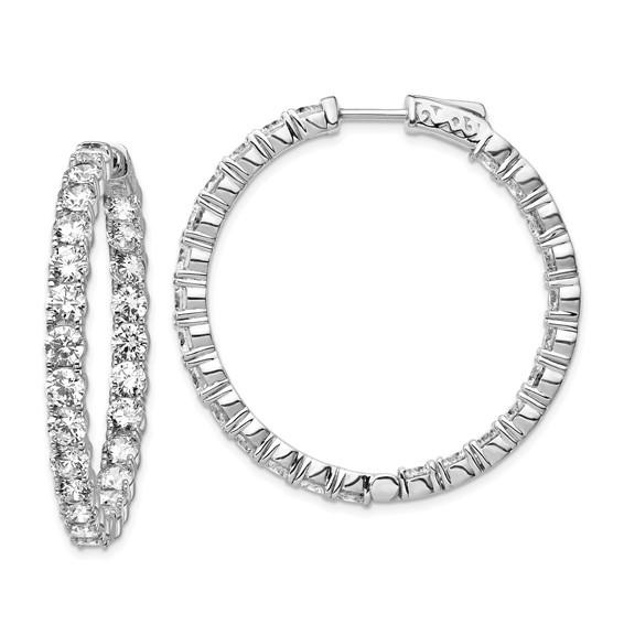 1 1/2in Sterling Silver with 3.7mm CZ Hinged Hoop Earrings