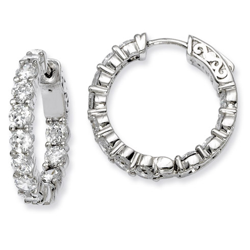 7/8in Sterling Silver with 3.4mm CZ Hinged Hoop Earrings