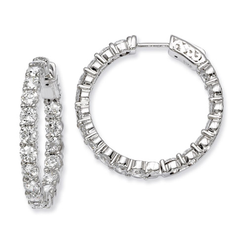 1in Sterling Silver with 3.4mm CZ Hinged Hoop Earrings