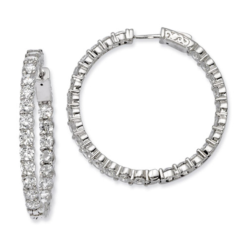 1 1/2in Sterling Silver with CZ Hinged Hoop Earrings