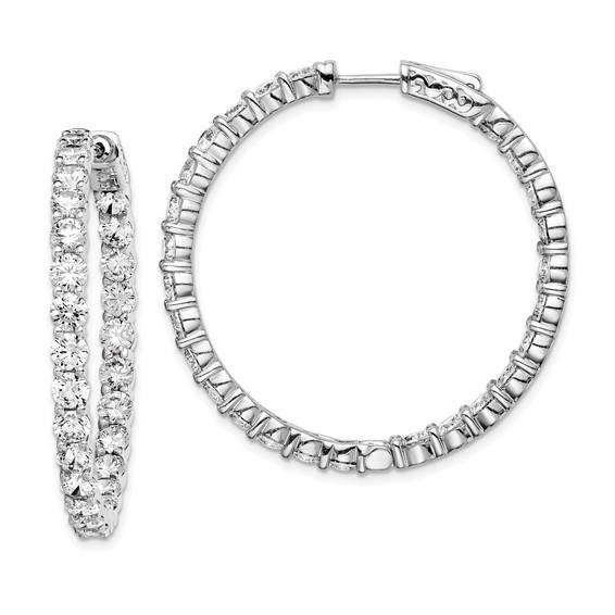 1 1/2in Sterling Silver with CZ Hinged Hoop Earrings