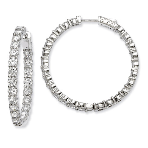 1 1/2in Sterling Silver with 3.7mm CZ Hinged Hoop Earrings