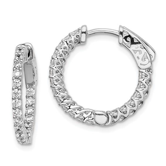 3/4in Sterling Silver with CZ Hinged Hoop Earrings