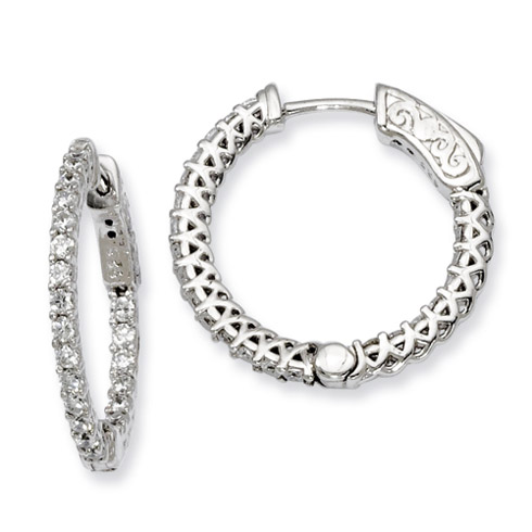 7/8in Sterling Silver with CZ Hinged Hoop Earrings
