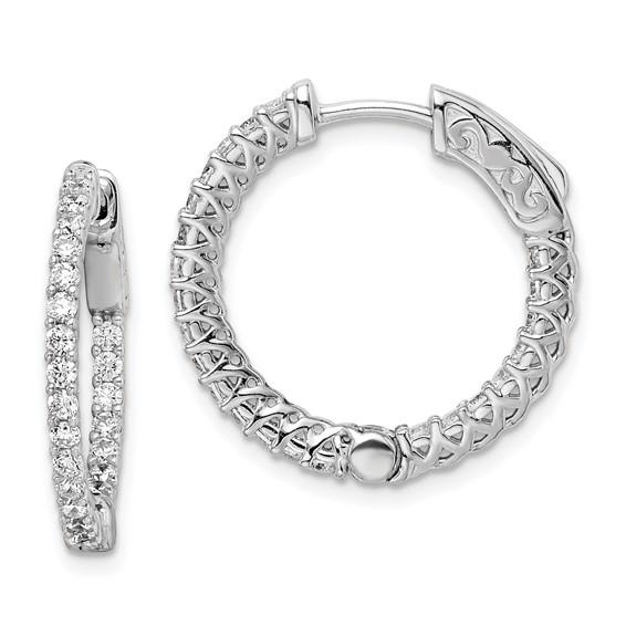7/8in Sterling Silver with CZ Hinged Hoop Earrings
