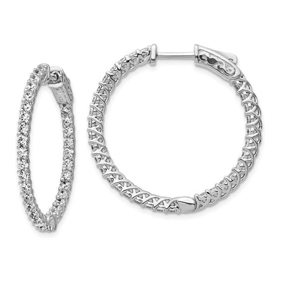 1 1/8in Sterling Silver with CZ Hinged Hoop Earrings