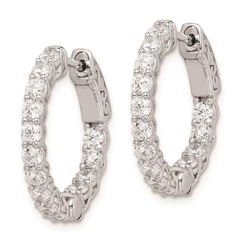 Sterling Silver 3/4in with CZ Hinged Hoop Earrings