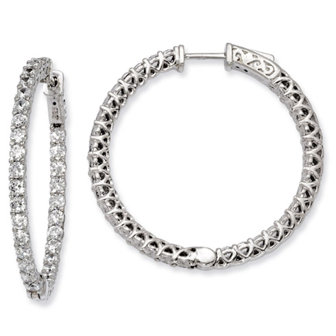 1 3/8in Sterling Silver with CZ Hinged Hoop Earrings