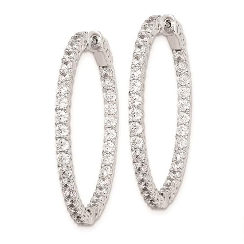 1 3/8in Sterling Silver with CZ Hinged Hoop Earrings