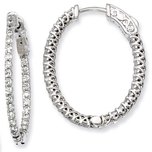 1in Sterling Silver with CZ Hinged Oval Hoop Earrings
