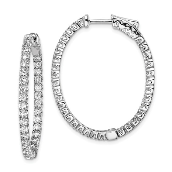1 1/4in Sterling Silver with CZ Hinged Oval Hoop Earrings