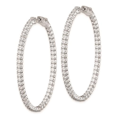 1 3/8in Sterling Silver with CZ Hinged Oval Hoop Earrings