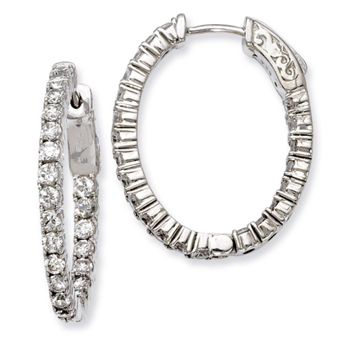 Sterling Silver 1in CZ Hinged Oval Hoop Earrings