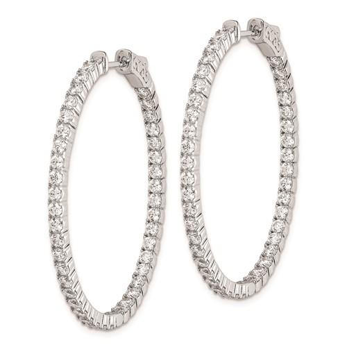 1 1/2in Sterling Silver with CZ Hinged Oval Hoop Earrings