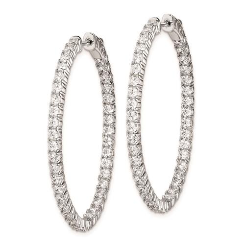 1 3/4in Sterling Silver with CZ Hinged Oval Hoop Earrings