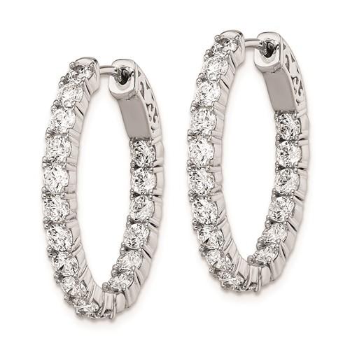 1in Sterling Silver with CZ Hinged Oval Hoop Earrings