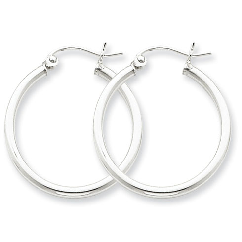Sterling Silver 15/16in Round Hoop Earrings 2mm
